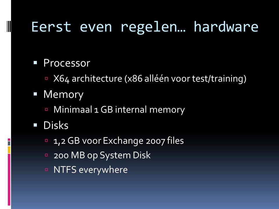 Eerst even regelen… hardware  Processor  X64 architecture (x86 alléén voor test/training)  Memory  Minimaal 1 GB internal memory  Disks  1,2 GB voor Exchange 2007 files  200 MB op System Disk  NTFS everywhere