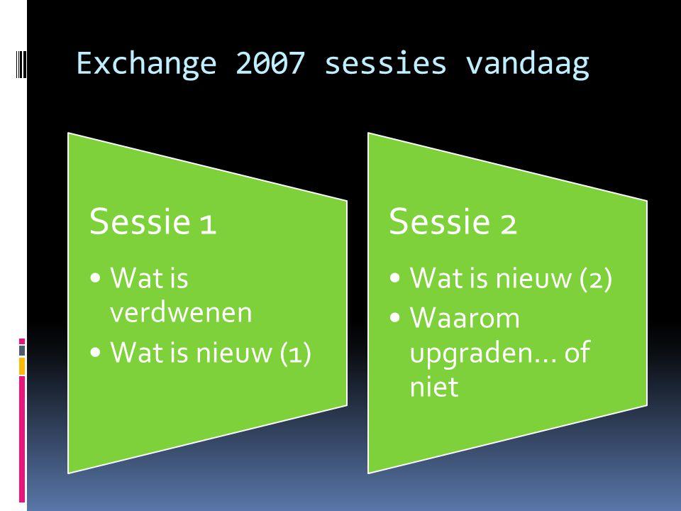 Exchange 2007 sessies vandaag Sessie 1 Wat is verdwenen Wat is nieuw (1) Sessie 2 Wat is nieuw (2) Waarom upgraden… of niet