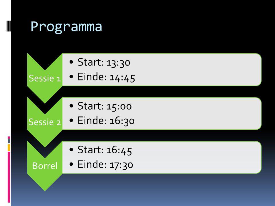 Programma Sessie 1 Start: 13:30 Einde: 14:45 Sessie 2 Start: 15:00 Einde: 16:30 Borrel Start: 16:45 Einde: 17:30