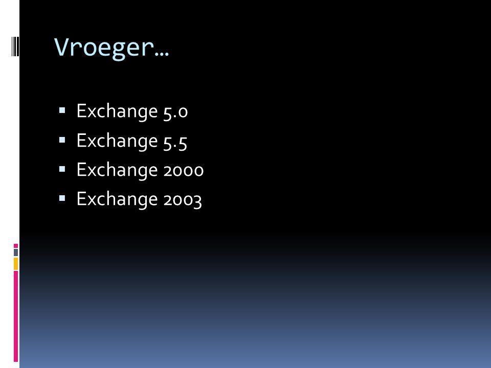 Vroeger…  Exchange 5.0  Exchange 5.5  Exchange 2000  Exchange 2003
