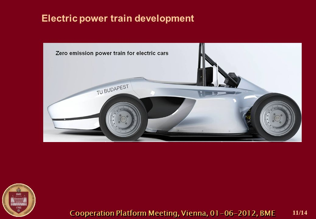 Cooperation Platform Meeting, Vienna, 01-06-2012, BME Electric power train development 11/14