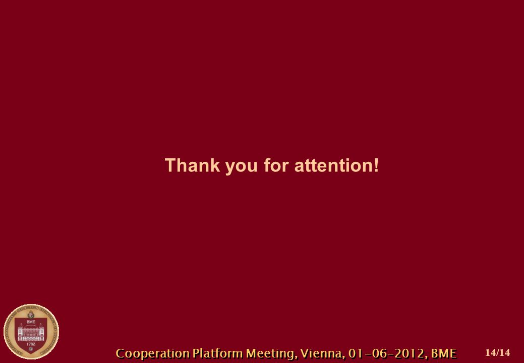 Cooperation Platform Meeting, Vienna, 01-06-2012, BME Thank you for attention! 14/14