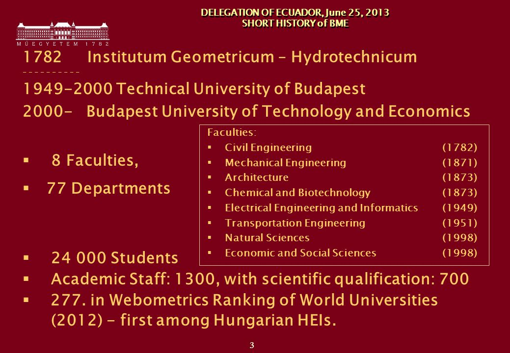 Institutum Geometricum – Hydrotechnicum Technical University of Budapest Budapest University of Technology and Economics  8 Faculties,  77 Departments  Students  Academic Staff: 1300, with scientific qualification: 700  277.