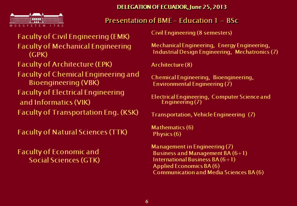 6 DELEGATION OF ECUADOR, June 25, 2013 Presentation of BME – Education 1 - BSc Faculty of Civil Engineering (EMK) Faculty of Mechanical Engineering (GPK) Faculty of Architecture (EPK) Faculty of Chemical Engineering and Bioengineering (VBK) Faculty of Electrical Engineering and Informatics (VIK) Faculty of Transportation Eng.