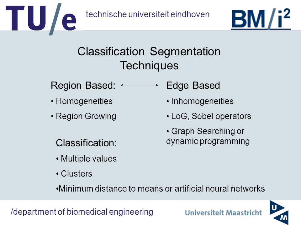 technische universiteit eindhoven /department of biomedical engineering Classification Segmentation Techniques Region Based: Homogeneities Region Grow
