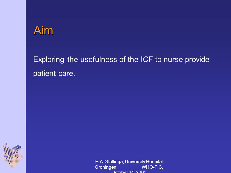 H.A. Stallinga, University Hospital Groningen. WHO-FIC, October 24, 2003 Aim Exploring the usefulness of the ICF to nurse provide patient care.