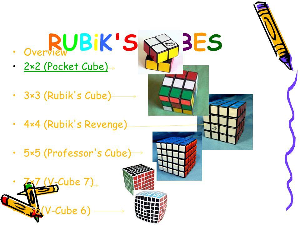 RUBiK S CUBES Overview 2×2 (Pocket Cube) 3×3 (Rubik s Cube) 4×4 (Rubik s Revenge) 5×5 (Professor s Cube) 7×7 (V-Cube 7) 6×6(V-Cube 6)
