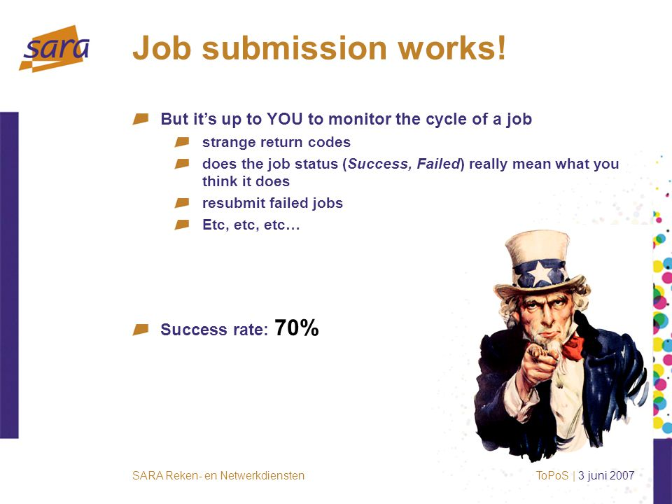 SARA Reken- en Netwerkdiensten Job submission works.