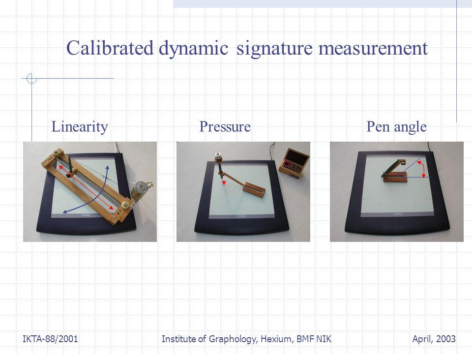 April, 2003IKTA-88/2001 Institute of Graphology, Hexium, BMF NIK Calibrated dynamic signature measurement Linearity Pressure Pen angle