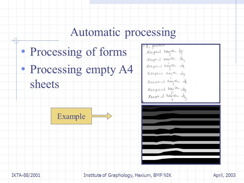 April, 2003IKTA-88/2001 Institute of Graphology, Hexium, BMF NIK Automatic processing Processing of forms Processing empty A4 sheets Example