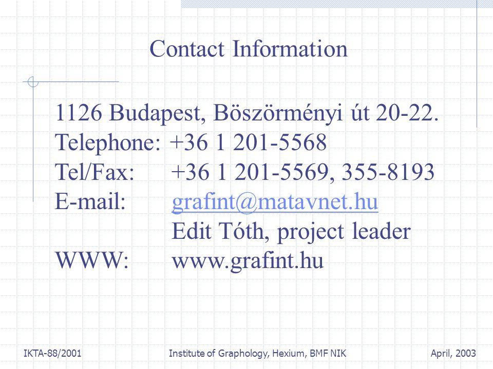 April, 2003IKTA-88/2001 Institute of Graphology, Hexium, BMF NIK 1126 Budapest, Böszörményi út 20-22. Telephone: +36 1 201-5568 Tel/Fax: +36 1 201-556