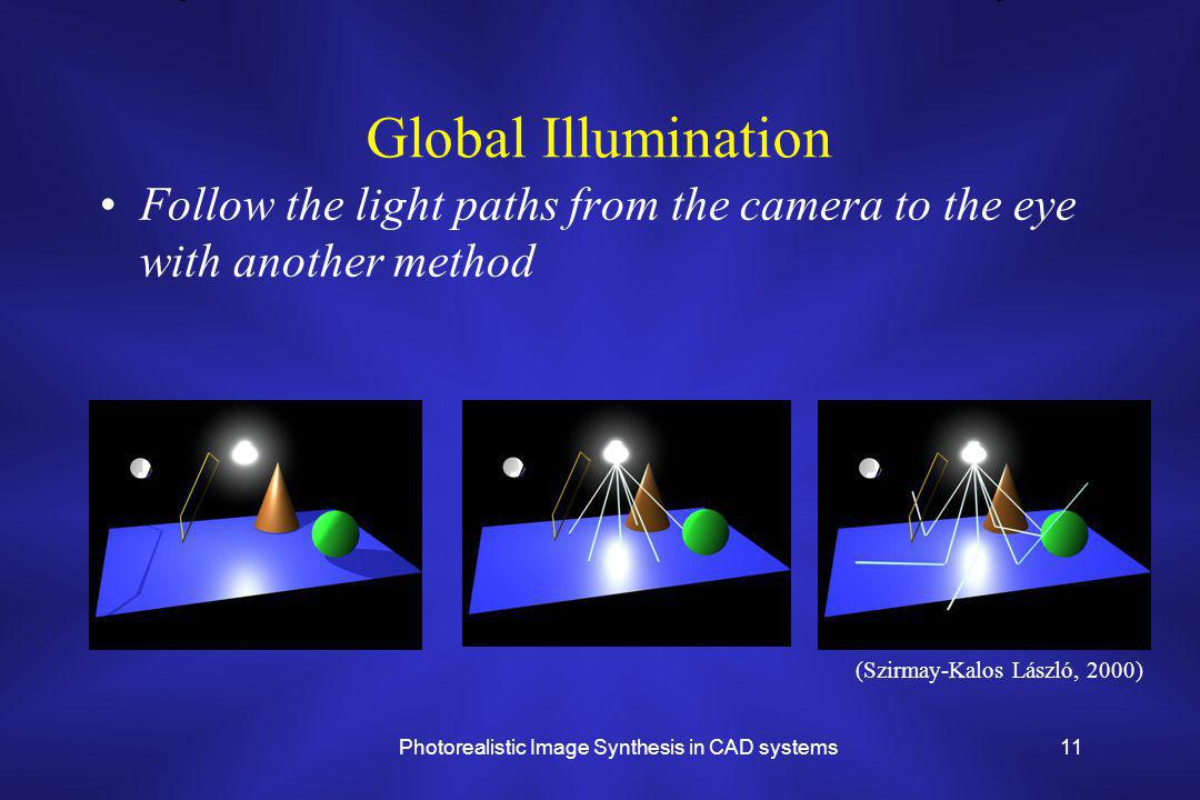 Photorealistic Image Synthesis in CAD systems11 Global Illumination Follow the light paths from the camera to the eye with another method (Szirmay-Kalos László, 2000)