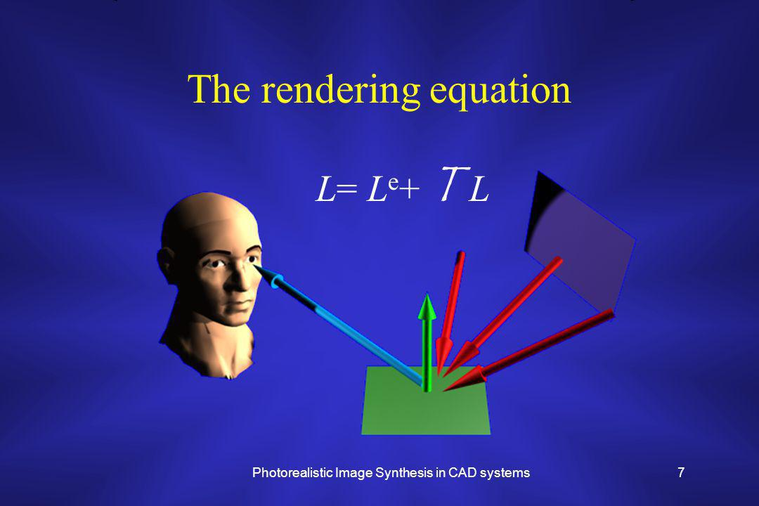 Photorealistic Image Synthesis in CAD systems7 The rendering equation L= L e + T L