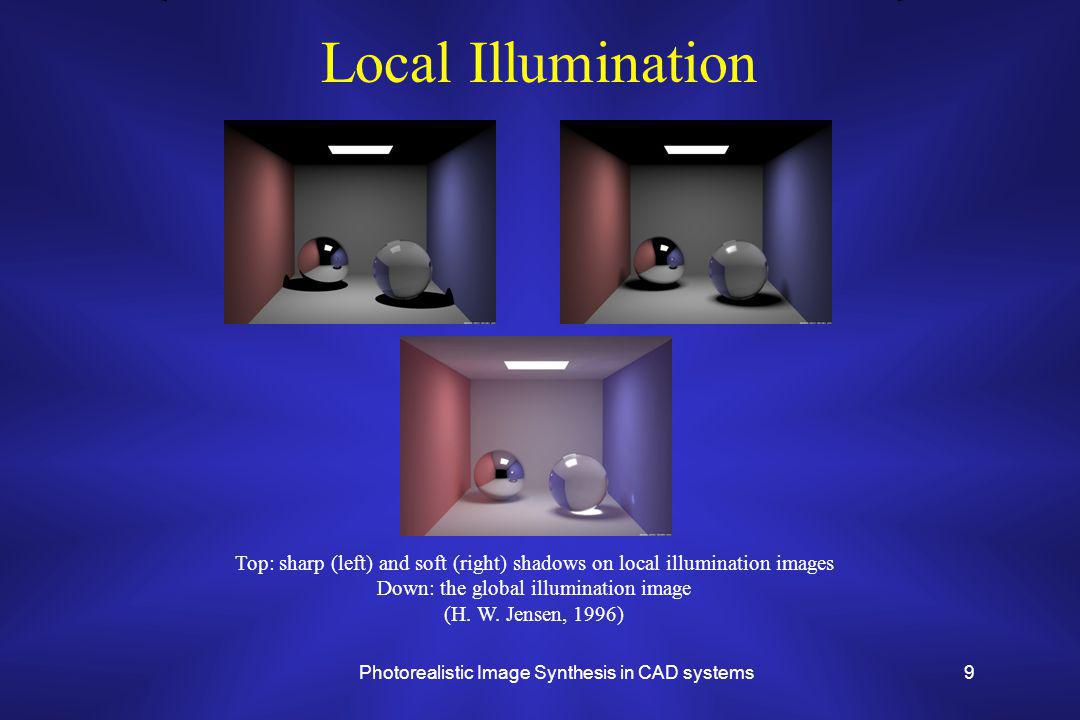 Photorealistic Image Synthesis in CAD systems9 Local Illumination Top: sharp (left) and soft (right) shadows on local illumination images Down: the global illumination image (H.