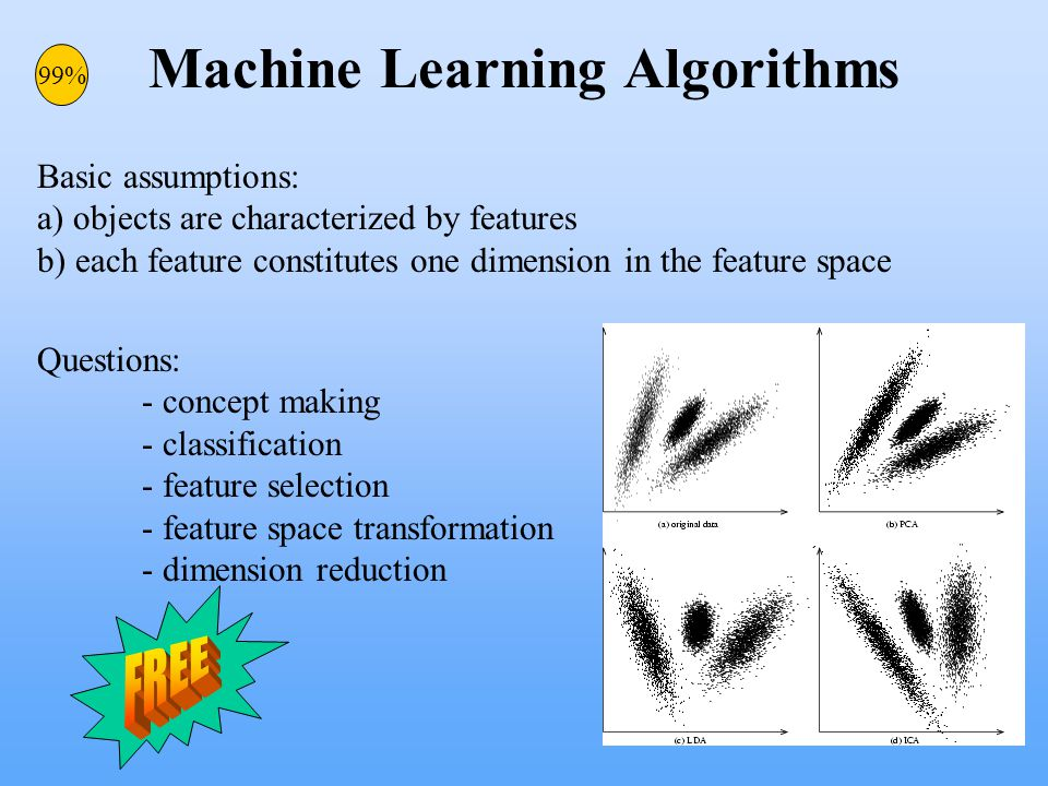 Machine Learning Algorithms Basic assumptions: a) objects are characterized by features b) each feature constitutes one dimension in the feature space