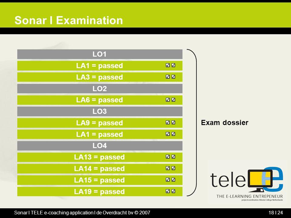 Sonar l TELE e-coaching application l de Overdracht bv © 200718 l 24 LO1 LA1 = passed LA3 = passed LO2 LA6 = passed LO3 LA9 = passed LA1 = passed LO4 LA13 = passed LA14 = passed LA15 = passed LA19 = passed Sonar l Examination Exam dossier