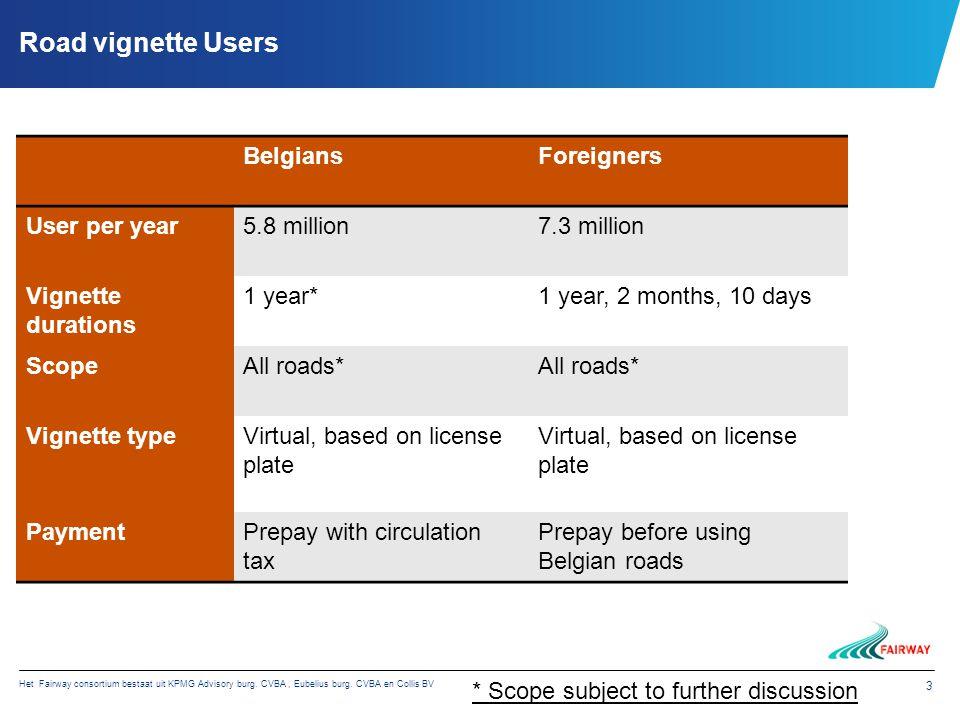 Het Fairway consortium bestaat uit KPMG Advisory burg. CVBA, Eubelius burg. CVBA en Collis BV 3 Road vignette Users BelgiansForeigners User per year5.