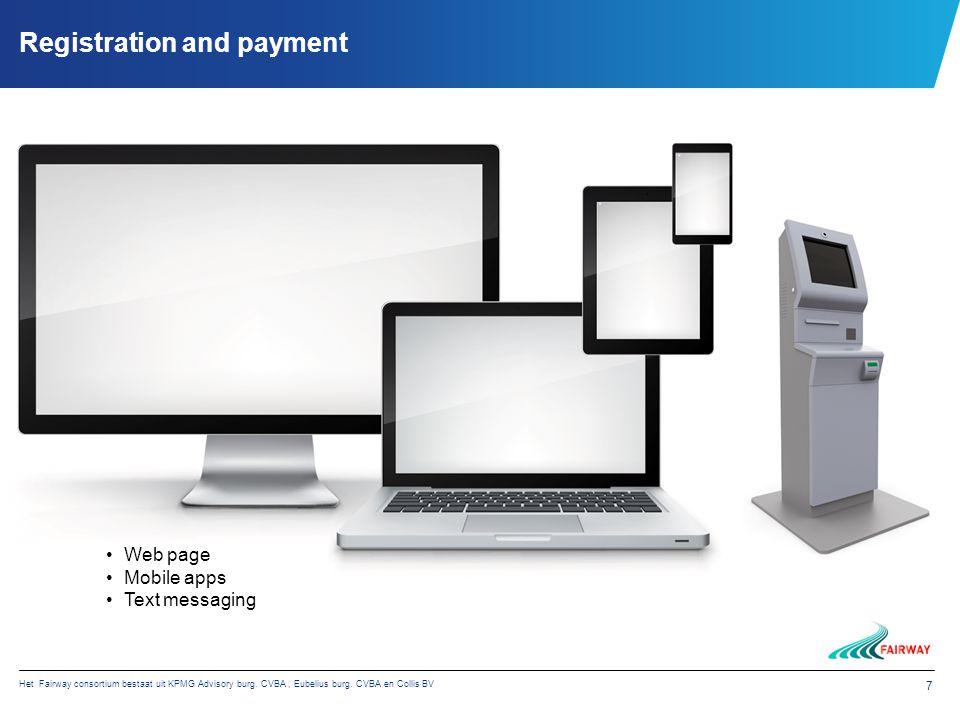 Het Fairway consortium bestaat uit KPMG Advisory burg. CVBA, Eubelius burg. CVBA en Collis BV 7 Registration and payment Web page Mobile apps Text mes