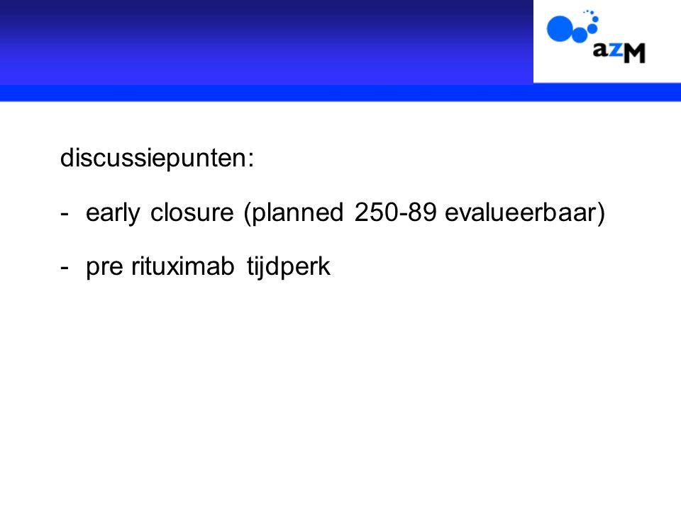 discussiepunten: -early closure (planned 250-89 evalueerbaar) -pre rituximab tijdperk