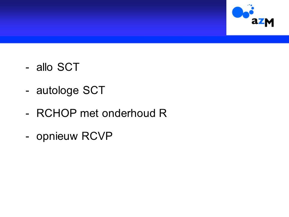 -allo SCT -autologe SCT -RCHOP met onderhoud R -opnieuw RCVP