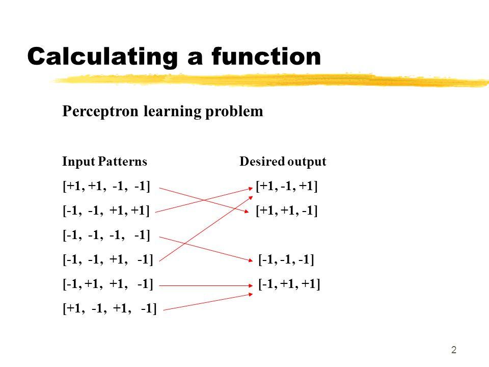 13 Effe tussendoor…  Bij perceptron etc.: net input knoop>0 dan activatie 0  Niet altijd gewenst: daarom heeft knoop in continue vormen perceptron / backprop een 'bias', een activatie die altijd bij input opgeteld wordt  Effect: verschuiven threshold