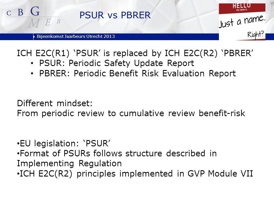 Bijeenkomst Jaarbeurs Utrecht 2013 PSUR vs PBRER ICH E2C(R1) 'PSUR' is replaced by ICH E2C(R2) 'PBRER' PSUR: Periodic Safety Update Report PBRER: Peri
