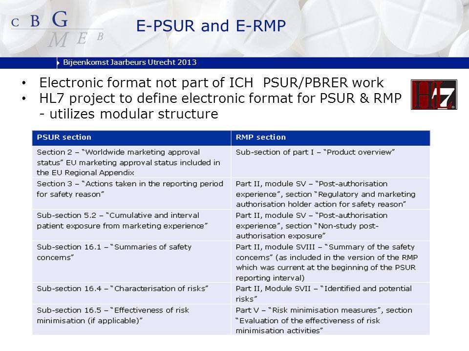 Bijeenkomst Jaarbeurs Utrecht 2013 Electronic format not part of ICH PSUR/PBRER work HL7 project to define electronic format for PSUR & RMP - utilizes