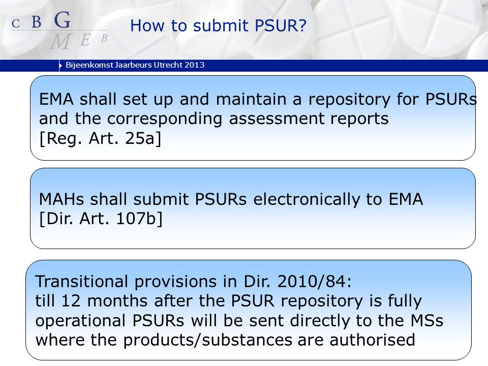 Bijeenkomst Jaarbeurs Utrecht 2013 EMA shall set up and maintain a repository for PSURs and the corresponding assessment reports [Reg. Art. 25a] MAHs