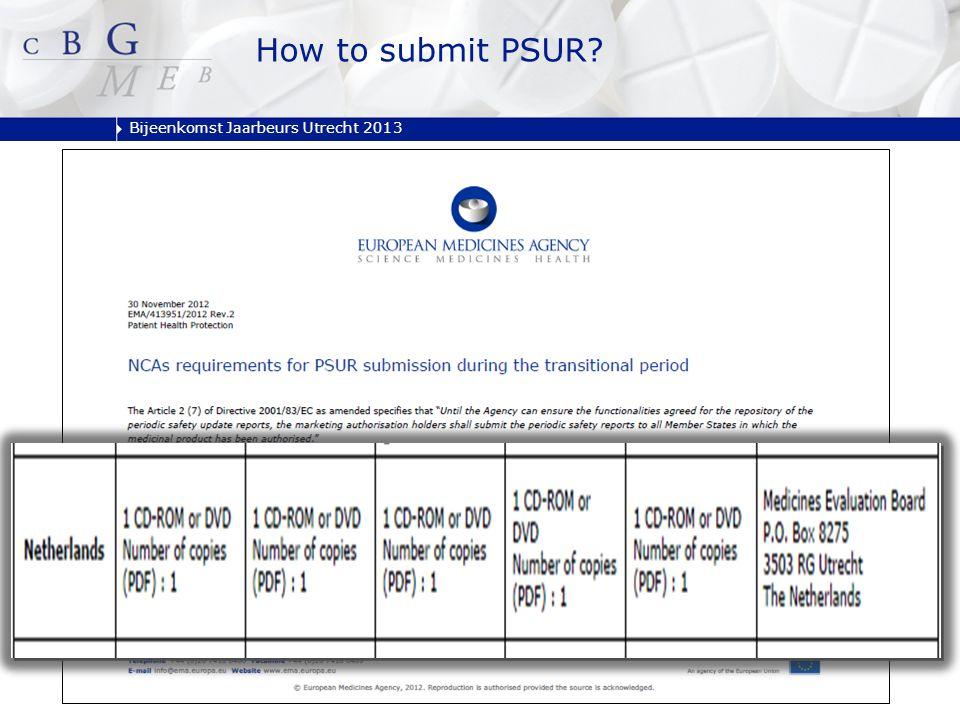 Bijeenkomst Jaarbeurs Utrecht 2013 How to submit PSUR?