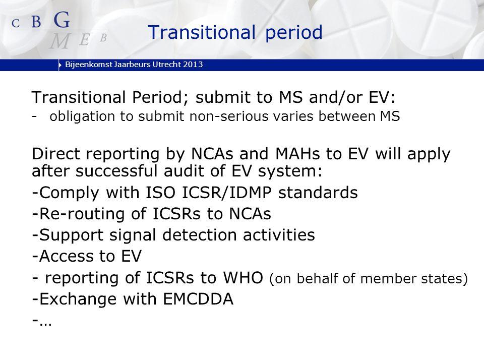 Bijeenkomst Jaarbeurs Utrecht 2013 Transitional period Transitional Period; submit to MS and/or EV: -obligation to submit non-serious varies between M
