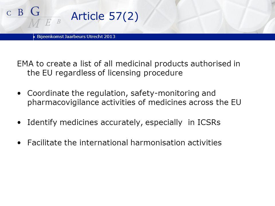 Bijeenkomst Jaarbeurs Utrecht 2013 EMA to create a list of all medicinal products authorised in the EU regardless of licensing procedure Coordinate th
