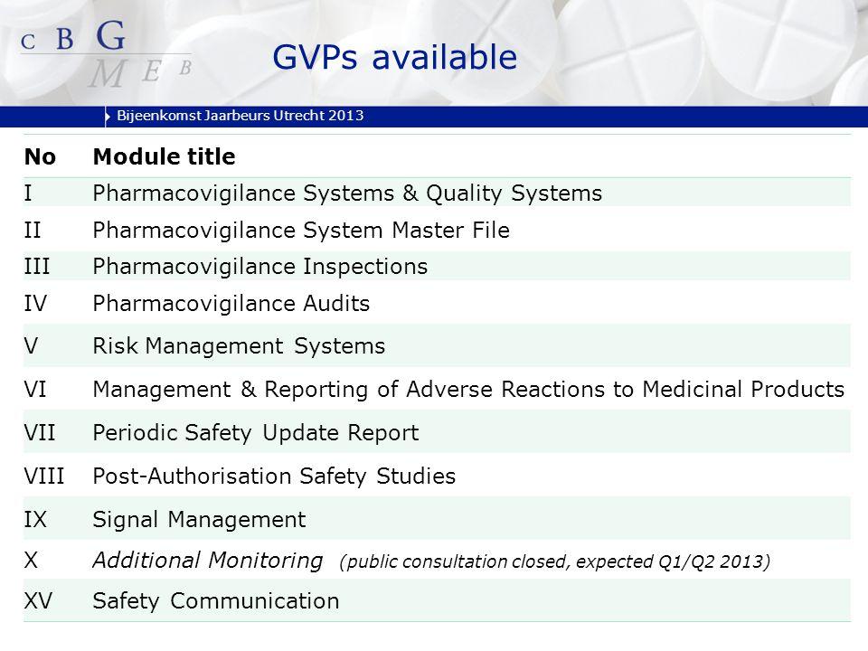 Bijeenkomst Jaarbeurs Utrecht 2013 GVPs available NoModule title IPharmacovigilance Systems & Quality Systems IIPharmacovigilance System Master File I