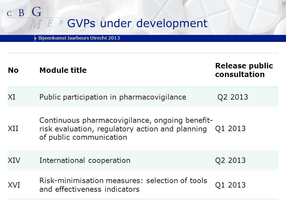 Bijeenkomst Jaarbeurs Utrecht 2013 NoModule title Release public consultation XIPublic participation in pharmacovigilance Q2 2013 XII Continuous pharm