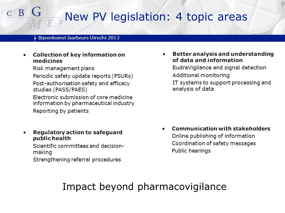 Bijeenkomst Jaarbeurs Utrecht 2013 New PV legislation: 4 topic areas Impact beyond pharmacovigilance