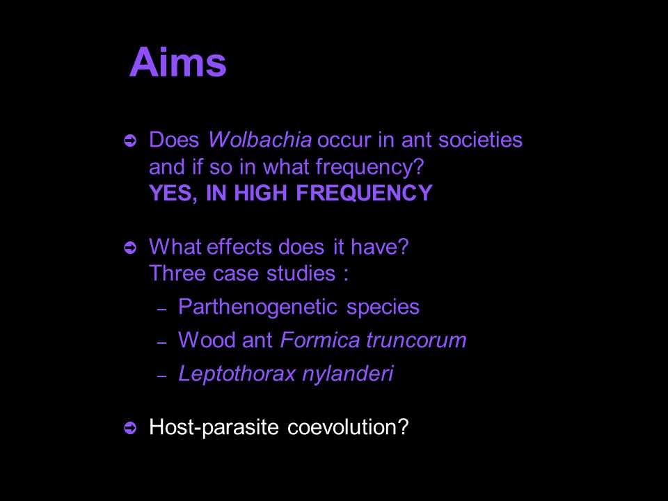 Aims  Does Wolbachia occur in ant societies and if so in what frequency? YES, IN HIGH FREQUENCY  What effects does it have? Three case studies : – P