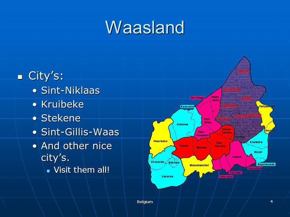 Belgium 4 Waasland City's: City's: Sint-NiklaasSint-Niklaas KruibekeKruibeke StekeneStekene Sint-Gillis-WaasSint-Gillis-Waas And other nice city's.And
