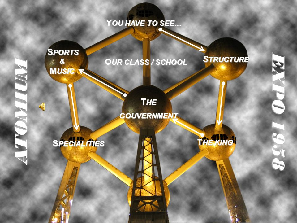 T HE T HE GOUVERNMENT S PORTS & M USIC S PORTS & M USIC T HE KING T HE KING S PECIALITIES S PECIALITIES S TRUCTURE S TRUCTURE Y OU HAVE TO SEE… Y OU HAVE TO SEE…ATOMIUM EXPO 1958 O UR CLASS / SCHOOL O UR CLASS / SCHOOL