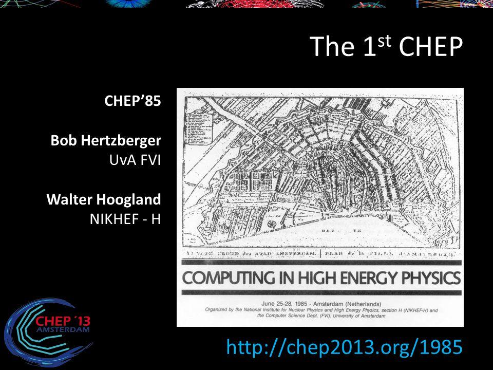 The 1 st CHEP http://chep2013.org/1985 CHEP'85 Bob Hertzberger UvA FVI Walter Hoogland NIKHEF - H