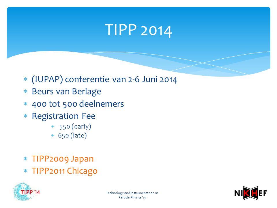 Technology and Instrumentation in Particle Physics 14 TIPP 2014  (IUPAP) conferentie van 2-6 Juni 2014  Beurs van Berlage  400 tot 500 deelnemers  Registration Fee  550 (early)  650 (late)  TIPP2009 Japan  TIPP2011 Chicago