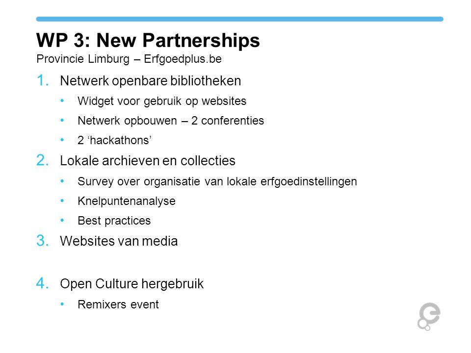 WP 3: New Partnerships Provincie Limburg – Erfgoedplus.be 1. Netwerk openbare bibliotheken Widget voor gebruik op websites Netwerk opbouwen – 2 confer