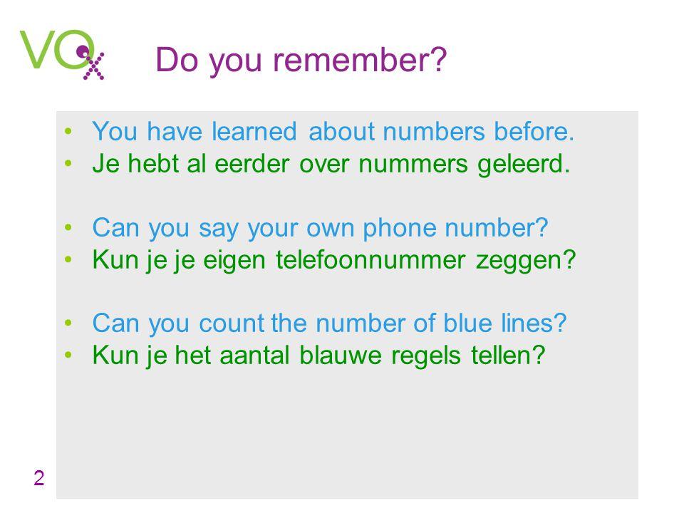 Leerjaar 1 Engels – Counting Lesson 8 Counting numbers