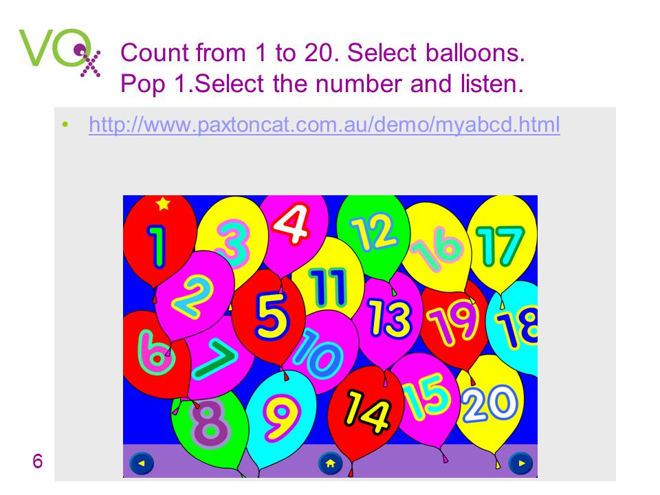 Count from 1 to 20. Put the cursor on the number and listen.