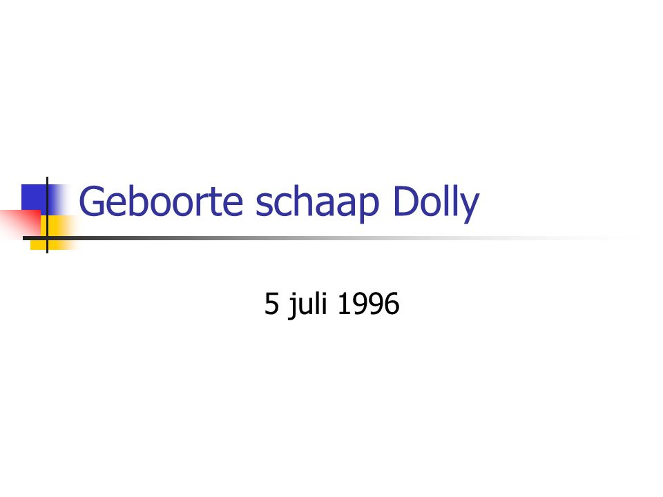 Geboorte schaap Dolly 5 juli 1996