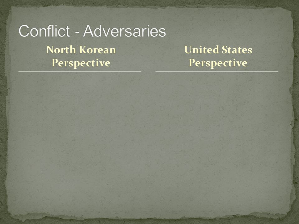 North Korean Perspective United States Perspective