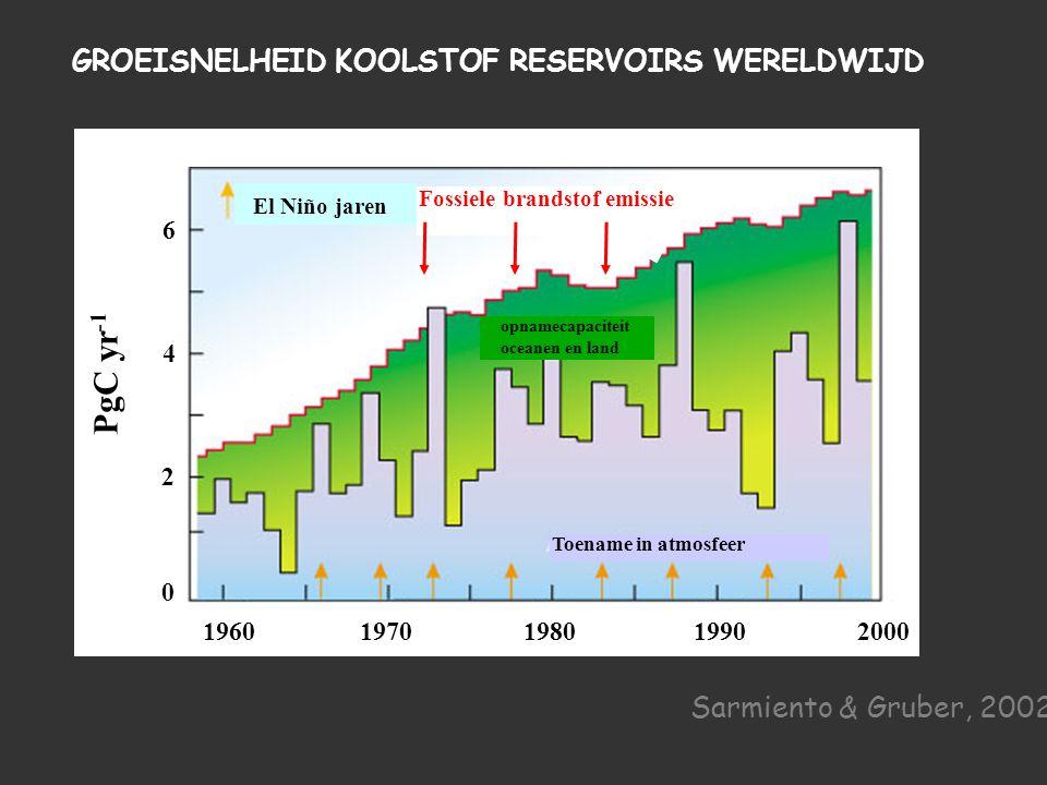 Toename in atmosfeer opnamecapaciteit oceanen en land 1960 1970 1980 1990 2000 PgC yr -1 0 2 4 6 El Niño jaren Fossiele brandstof emissie GROEISNELHEID KOOLSTOF RESERVOIRS WERELDWIJD Sarmiento & Gruber, 2002
