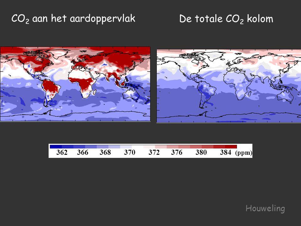 362 366 368 370 372 376 380 384 (ppm) De totale CO 2 kolom CO 2 aan het aardoppervlak Houweling