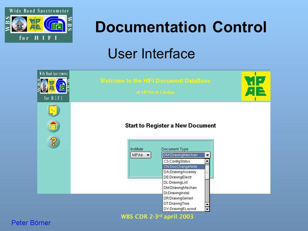 Documentation Control User Interface Peter Börner