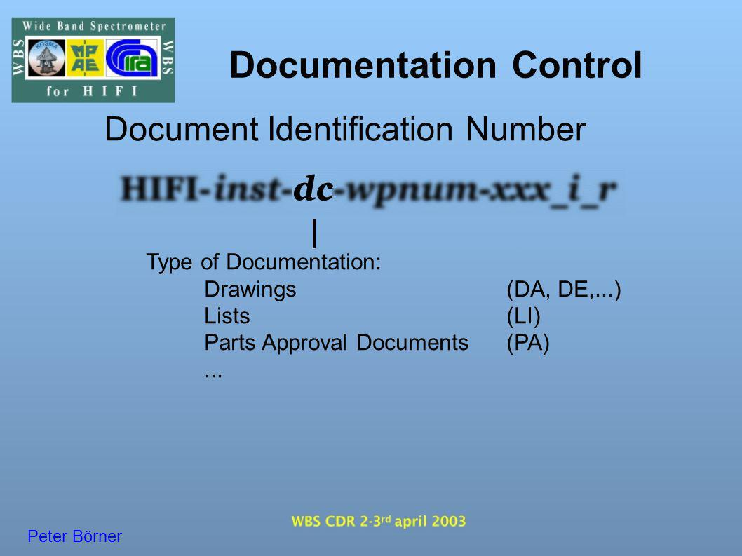 Documentation Control Document Identification Number Workpackage Number: Defines Parts of WBS ( e.g.WBO, WBE, Power-Board,...) and Models ( QM, FM, FS, ALL ) Peter Börner