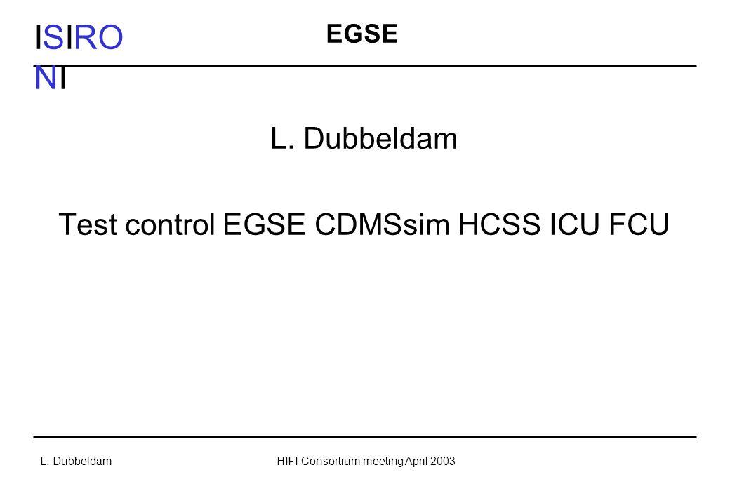 ISIRO NI L. DubbeldamHIFI Consortium meeting April 2003 EGSE L.