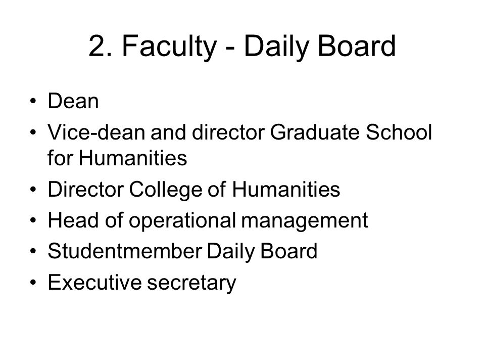 Daily Board Faculty of Humanities Acting Dean prof.